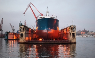Large ship in floating dry dock